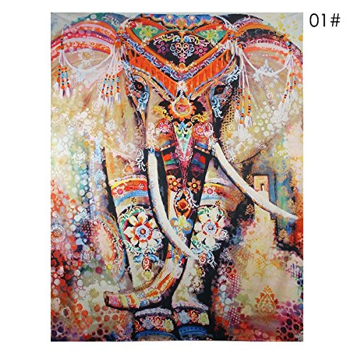 Indian Decor Mandala Tapestry Wall Hanging Hippie Throw Bohemian Twin Bedspread Orange Elephant
