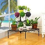 ALUS- European Style Iron Material Three Layers Black Gold White Flower Racks , Balcony Living Room Corridor Bedroom Garden Flower Pot Shelf ( Color : Black , Size : 846060cm )