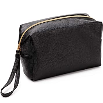 59a38cf4b4 Amazon.com   VASKER PU Leather Makeup Bag Handy Cosmetic Pouch Travel  Portable Handbag Purse Toiletry Storage Bag Large Organizer with Zipper  Women   Beauty
