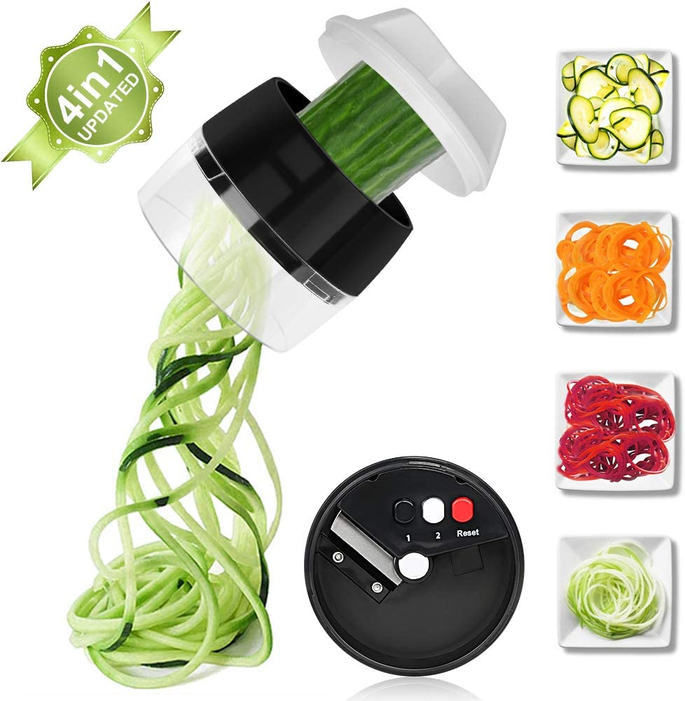Upgrade 4 in 1 Spiralizer Vegetable Slicer, Aieruma Handheld Veggie Spiral Cutter - Zoodles Spaghetti Veggie Noodles Maker, for Fruit Carrots Zucchini Cucumber Potatoes Radishes Squashes