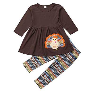 f315a233796ee Amazon.com: Toddler Baby Little Girls Thanksgiving Turkey Dress Top and  Pants Leggings Outfit Set: Clothing