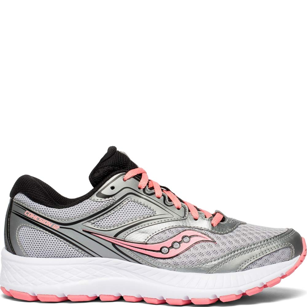 Saucony Women's VERSAFOAM Cohesion 12 Road Running Shoe, Silver/Pink, 6 M US by Saucony