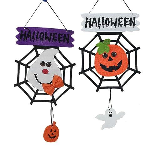 OULII Decorazione di Halloween Appendere Zucca Fantasma Ragnatela Addobbi 2  Pezzi ca5c7171c47f
