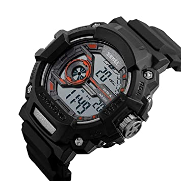 WULIFANG Mens Sports Watch Reloj Impermeable Reloj Digital 12/24 Horas Hombre De Pulsera Naranja