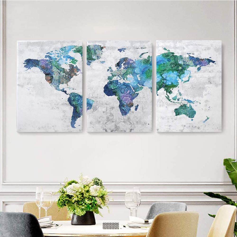Amazon Com Wall Art For Living Room Wall Decor For Bedroom Abstract Canvas Wall Art World Map Canvas Prints 20x28x3 Framed Wall Art Easy To Hang Wall Decorations Modern Popular Wall Decoration Everything