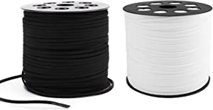 Jucoan 198 Yards Suede Cord, 2.6 mm x 1.5 mm Flat Lace Faux Suede Leather Cord with Spool, Jewelry Cords for Beading Craft, Handmade Bracelets Necklaces (2 Rolls White, Black)