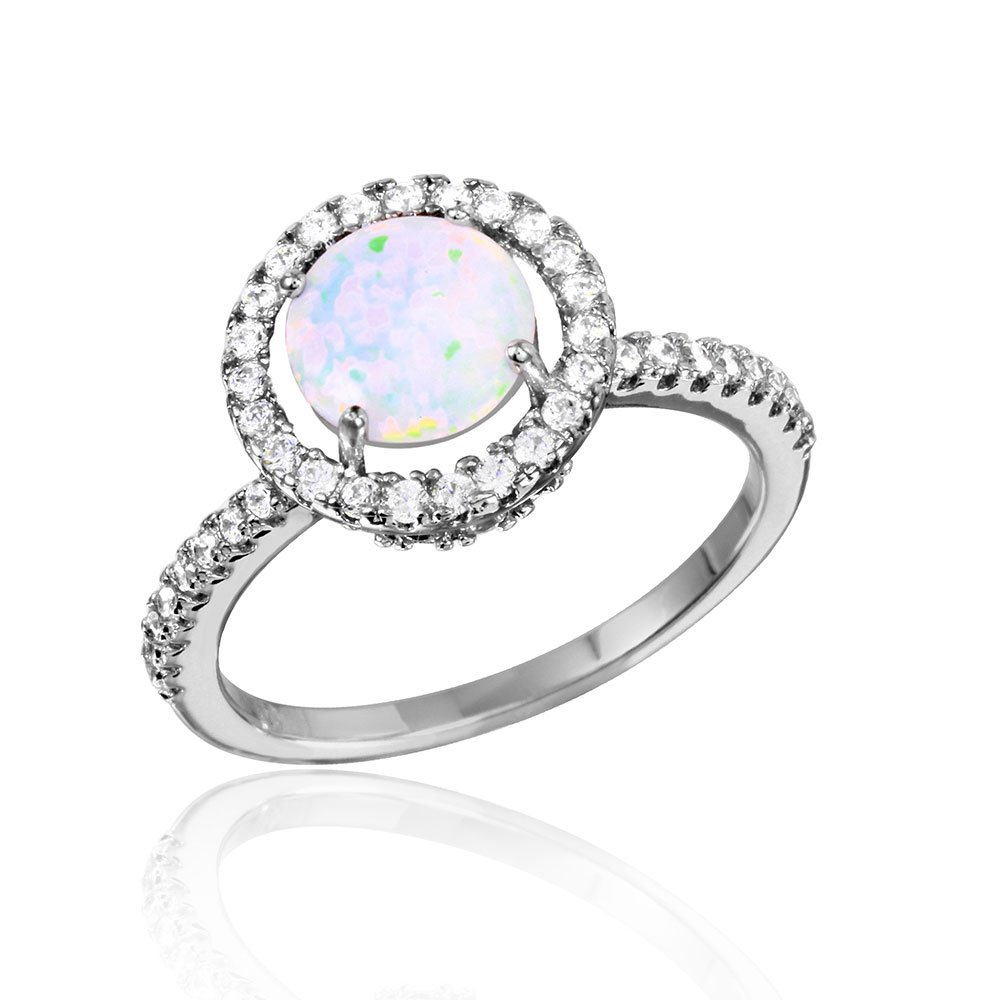 Princess Kylie White Synthetic Opal Center Cubic Zirconia Halo Set Ring Rhodium Plated Sterling Silver