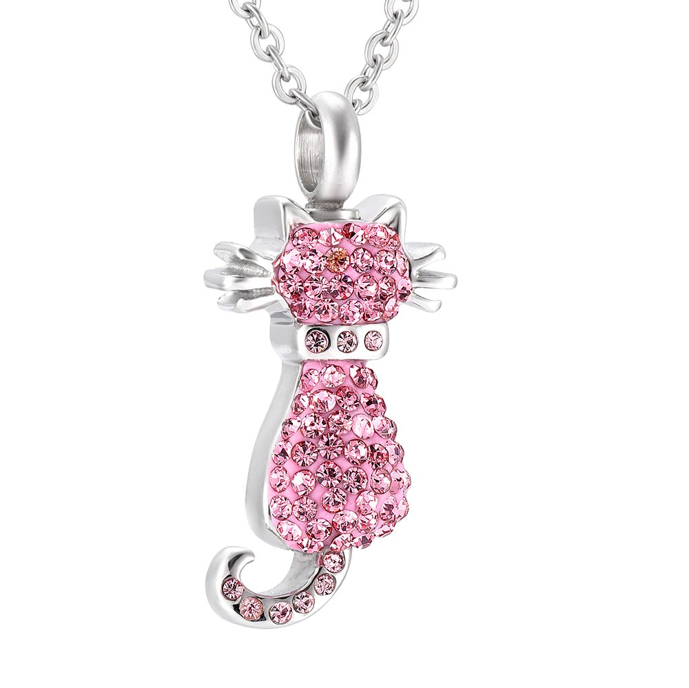 HLN9921 Sweety Cat Fulled Crystal Ash Necklace Pink/Clear/Black CZ Cremation Pendant Necklace (pink)