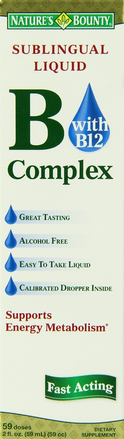 Nature's Bounty Vitamin B Complex Sublingual Liquid, 2 Ounce (Pack of 8) , Bounty -tktp
