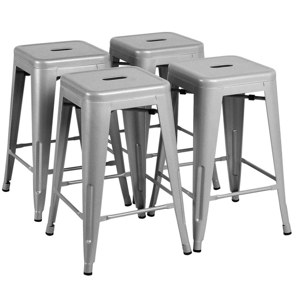 Yaheetech 24 Inches Metal Bar Stools High Backless Indoor/Outdoor Counter Height Stackable Stools Kitchen Counter Chair Island Set of 4 Silver, 331 lb by Yaheetech