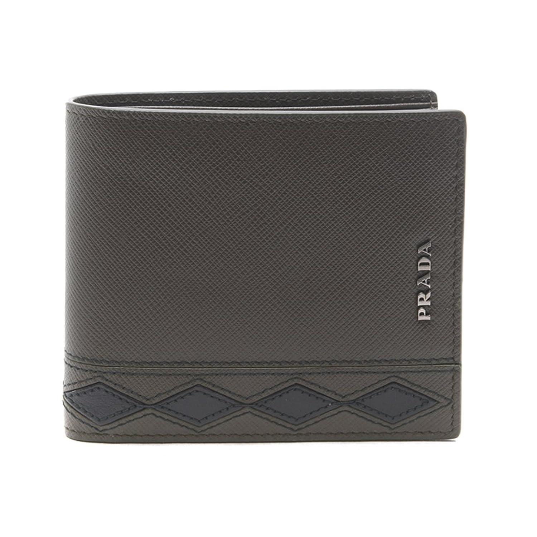 [プラダ PRADA] メンズ スティッチ メタルリング ロゴ 二つ折り財布 KHAKI [並行輸入品] B07F2HYKNH