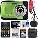 Bell & Howell Splash WP10 Shock & Waterproof Digital Camera (Green) with 16GB Card + Batteries & Charger + Case + Mini Tripod + Floating Strap + Reader + Kit