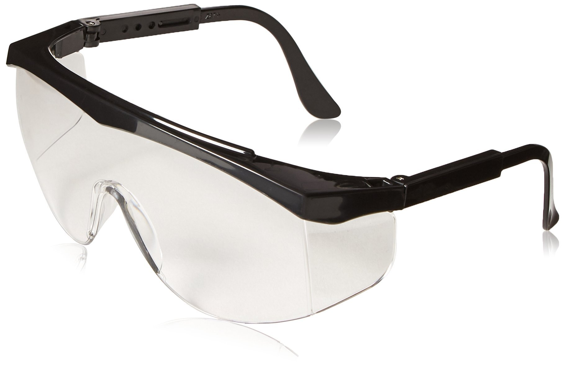 Crews SS010 Stratos Safety Glasses Polycarbonate Uncoated Lens, Nylon Black Frame, 1 Pair