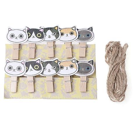 Amazon.com: Tebatu 10 Pieces Lovely Cat Mini Wooden Craft ...
