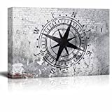 """wall26 - Canvas Wall Art - Compass on Shabby Wall - Giclee Print Gallery Wrap Modern Home Decor Ready to Hang - 16"""" x 24"""""""