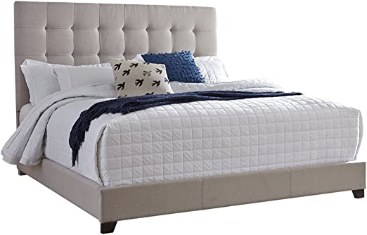 Amazon Com Ashley Furniture Signature Design Dolante Upholstered Bed Queen Size Complete Bed Set In A Box Contemporary Style Tan Furniture Decor