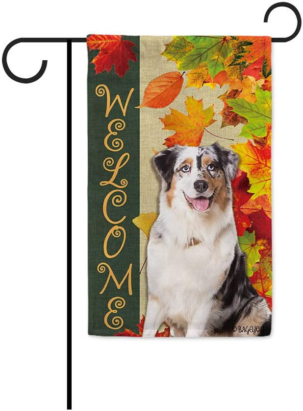 BAGEYOU Welcome Fall with My Favorite Dog Lovely Australian Shepherd Garden Flag Maple Leaf Harvest Season Rustic Decor Yard Banner for Outside 12.5X18 Inch Printed Double Sided
