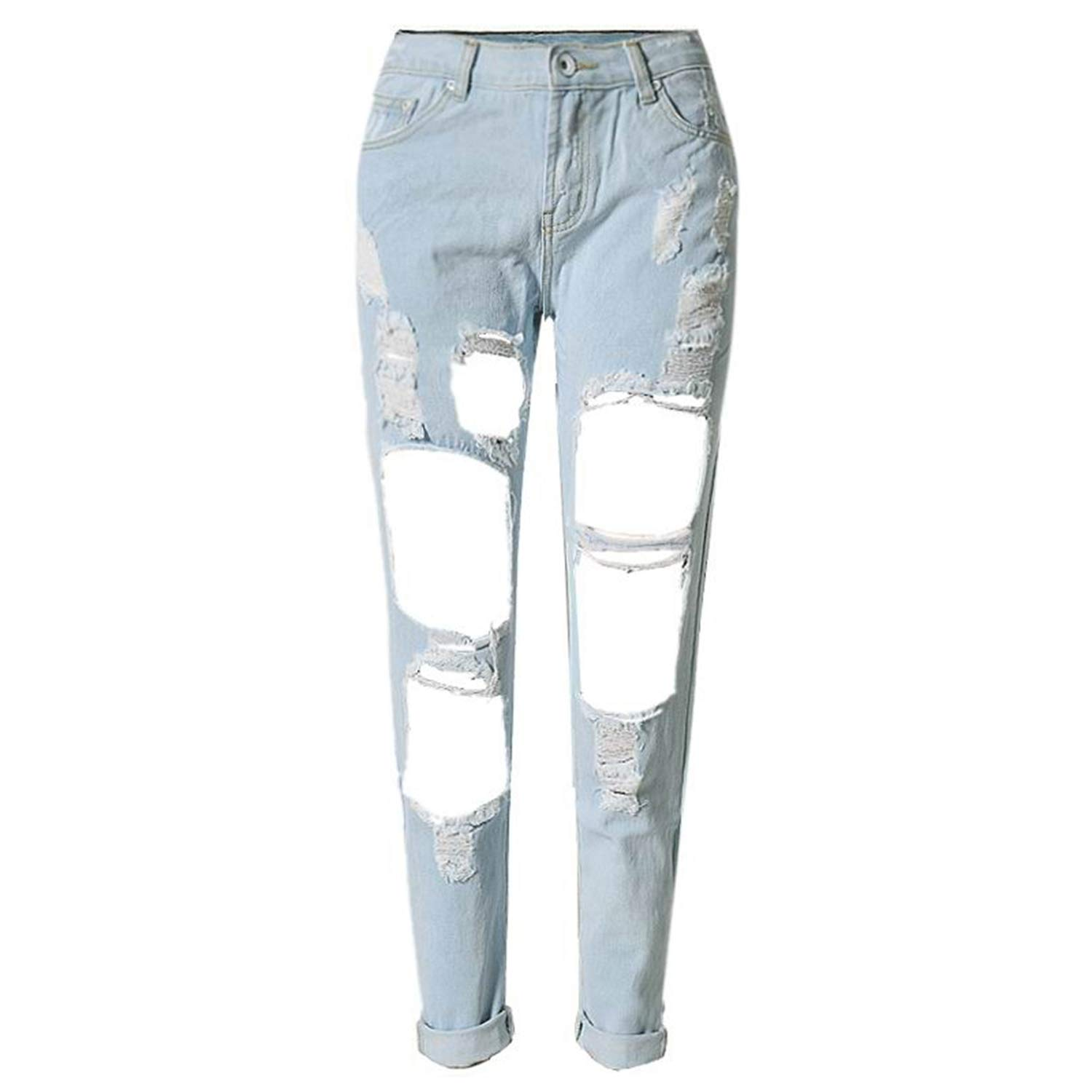 Light bluee Fashion Ripped Jeans Casual Washed Holes Boyfriend Jeans for Women Regular Long Torn Jeans Denim Pants