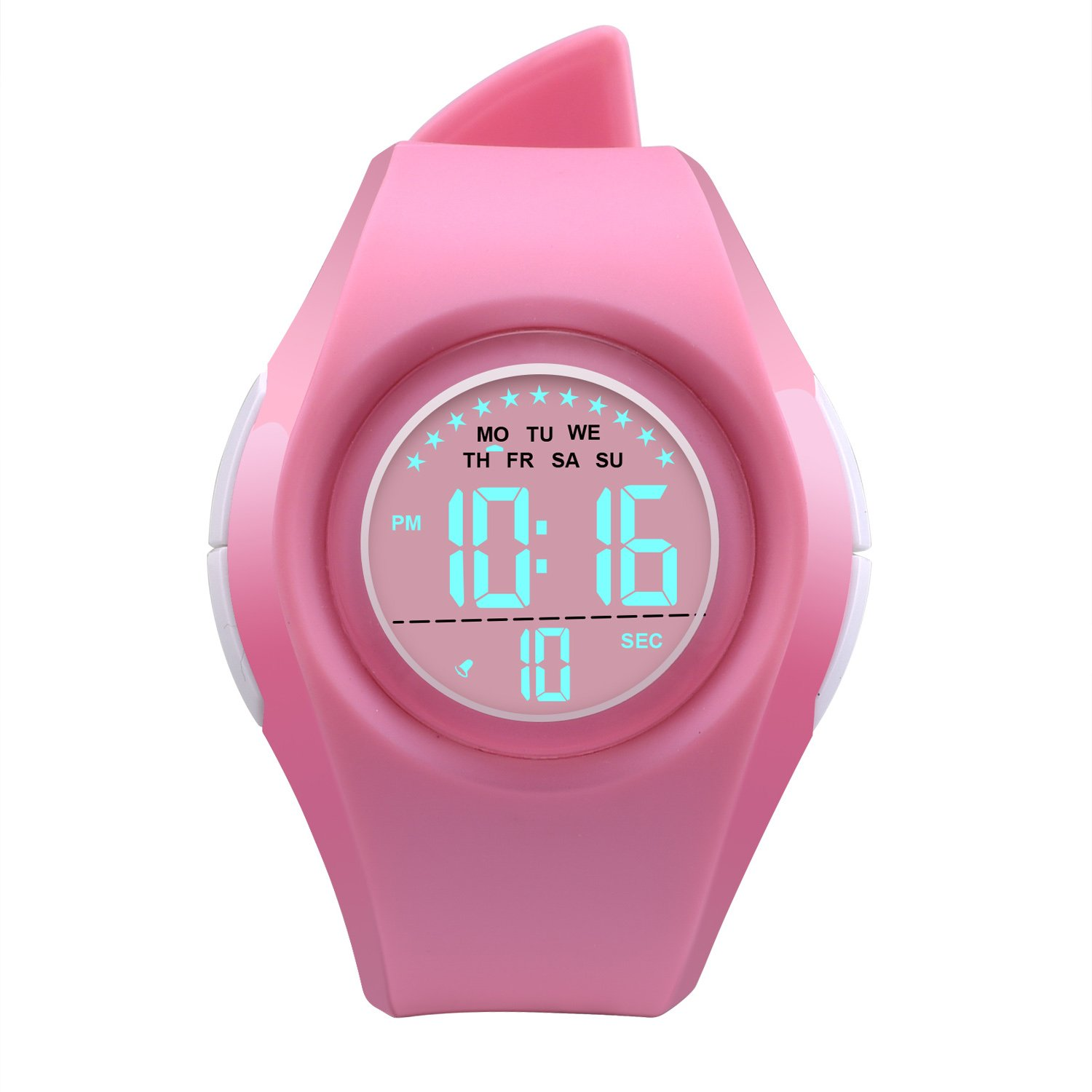 Kids Watch Waterproof Children Electronic Watch - Lighting Watch 50M Waterproof for Outdoor Sports,LED Digital Stopwatch with Chronograph, Alarm,Time Window Child Wrist Watch for Boys, Girls (Pink) by PERSUPER