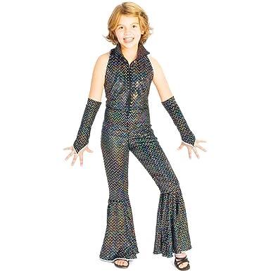 5021afc5a20a Amazon.com  Boogie Girl Black Sequin Disco Jumpsuit Kids Costume  Clothing