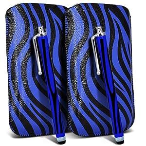 Samsung Galaxy Ace 2 I8160 Protección Premium de Zebra PU tracción Piel Tab Slip In Pouch Pocket Cordón piel cubierta de la caja de liberación rápida y Stylus Pen (Twin Pack) Azul y Negro por Spyrox
