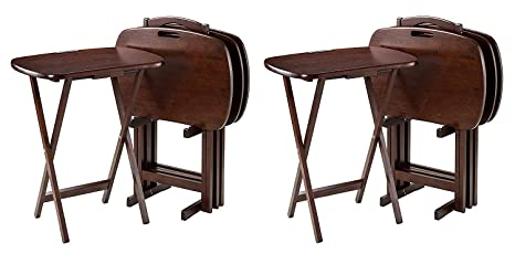 Winsome Wood 94577 Lucca 5 Piece Set Tv Tables With Handle 22 83 W X 25 79 H X 15 67 D Brown 2 Sets