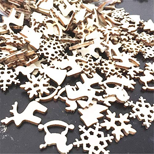 Hot Sale!DEESEE(TM)60Pcs DIY Craft Christmas Xmas Wood Chip Hanging Ornaments Decor (Assorted Wood Craft)