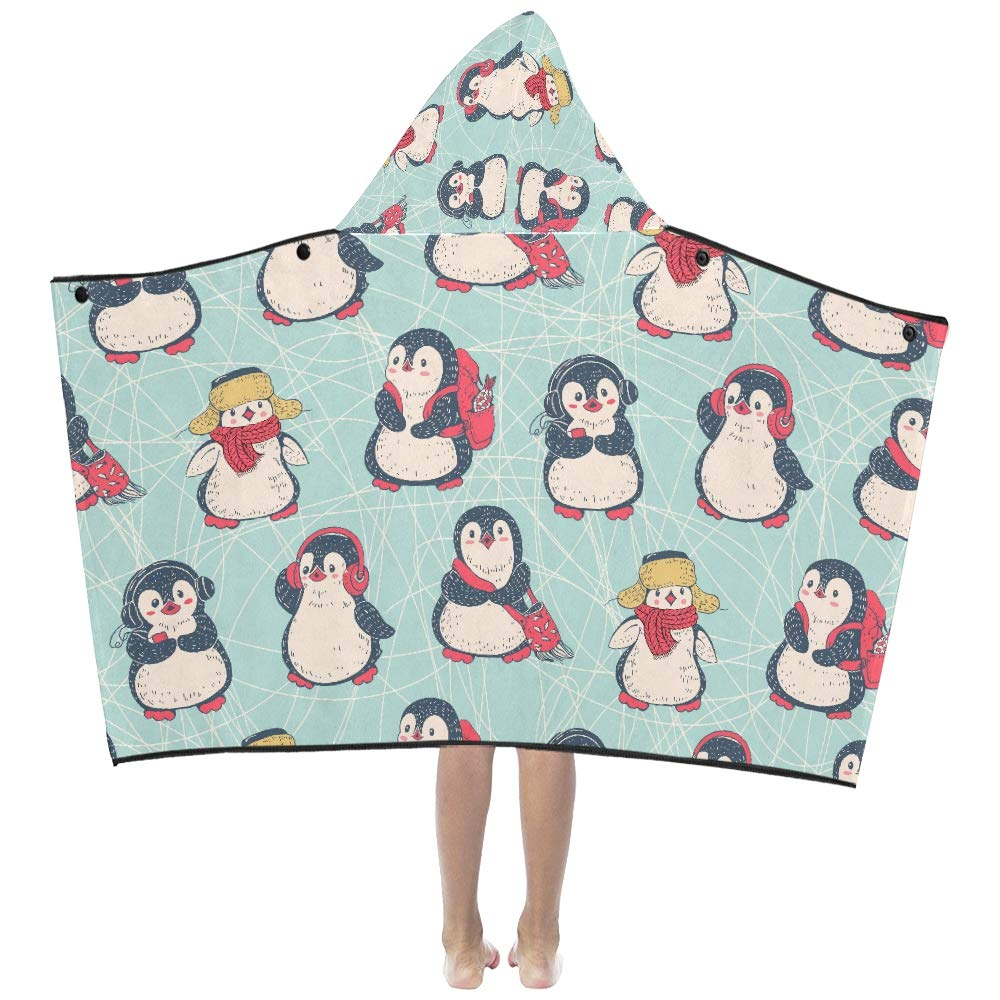 Kawaii smart penguin cartoon soft warm cotton blended kids dress up hooded wearable blanket bath towels throw wrap for toddlers child girls boys size home