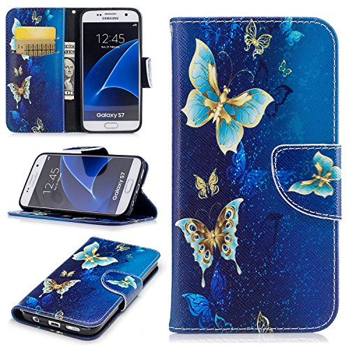 Cfrau Wallet Case with Black Stylus for Samsung Galaxy S7,Slim Colorful Print Magnetic Flip Soft Silicone Card Slots Stand Full Body PU Leather Case for Samsung Galaxy S7,Gold Blue Butterfly