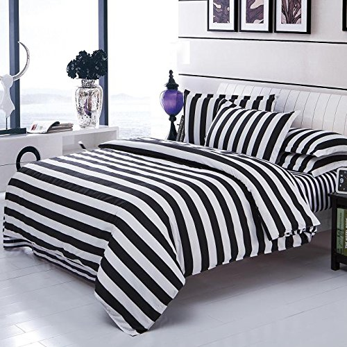 OJIA Home Soft Textiles Cotton Black&White Plaid 4pcs Bedding Duvet Cover Sets (1 Duvet Cover, 1 Flat Sheet, 2 Pillow Cases). (Twin, Stripe) (Stripe Twin Duvet)