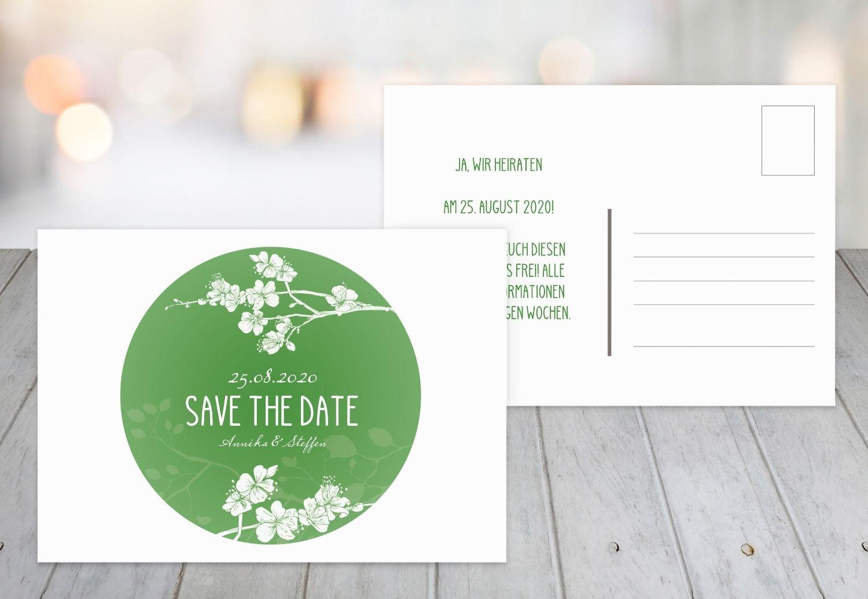 Save-the-Date Cherry Blossom, 80 Karten, Lilamatt B07B6NT59S | Charakteristisch  | Elegante Und Stabile Verpackung  | Wirtschaftlich und praktisch