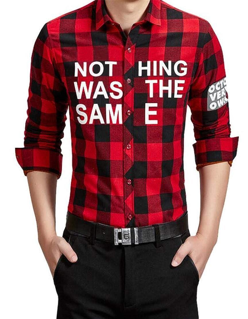 Frieed Men Plaid Check Fashion Buttons Letters Print Linen Fleece Dress Shirts
