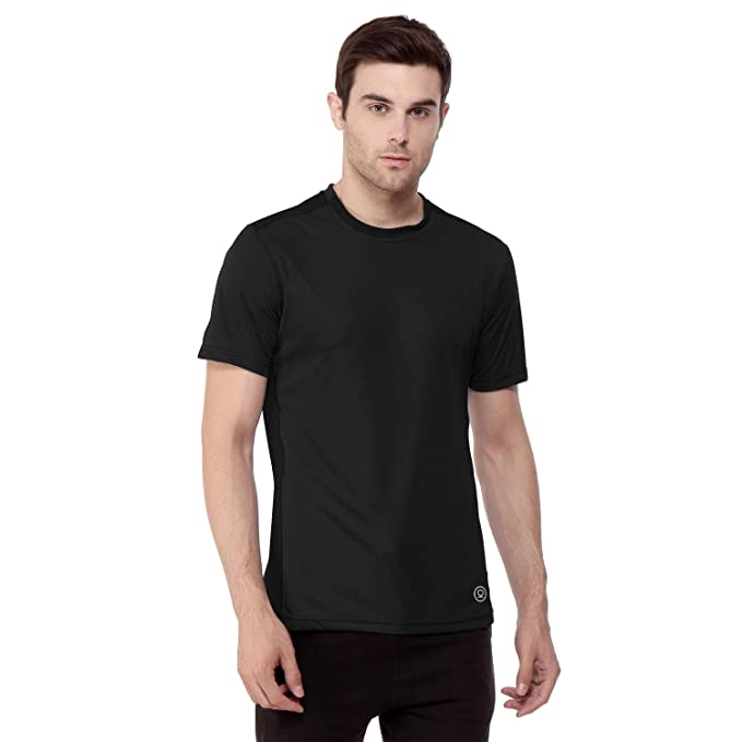 185e458231 CHKOKKO Round Neck Regular Fit Dry Fit Stretchable Yoga Gym Sports Tshirts  for Men Black S