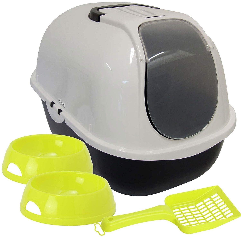 Gato con tapa basura bandeja + 2cuencos + cuchara caja con capucha Filtro de Toilet bowl Yarro