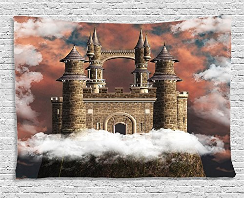 Ambesonne Medieval Decor Collection, Fairy Magic Castle on the Hill Middle Age Tales Unusual Facts in Graphic Art, Bedroom Living Room Dorm Wall Hanging Tapestry, 80W X 60L Inch, White Red (Fairy Tale Couples)