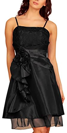 Knee Length Layered Evening Dresses Lace Taffeta Short Satin Flowers Party Cocktail Dress Womens Ladies Black