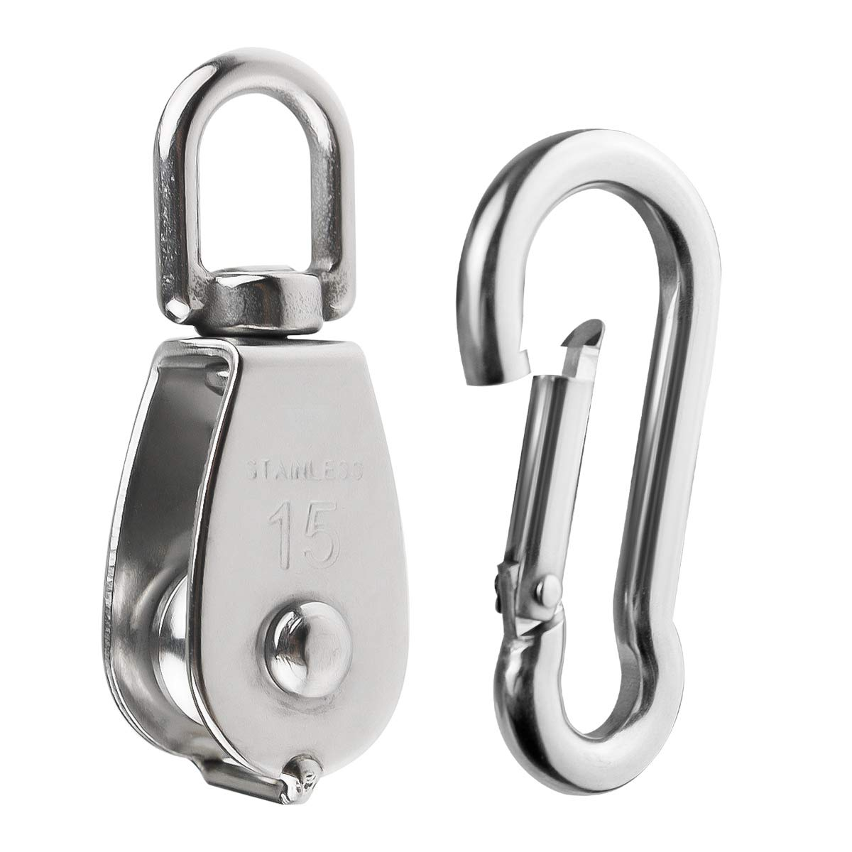 BNYZWOT 5PCS Stainless Steel Single Pulley Block M15 and 5PCS Spring Snap Hook for Wire Rope Hanging Wire Towing Wheel