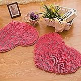 SU@DA Creative Carpet Living room Bedroom Mats Door Bathroom Anti - skid Heart-shaped Environmental protection , pink , 50*60cm