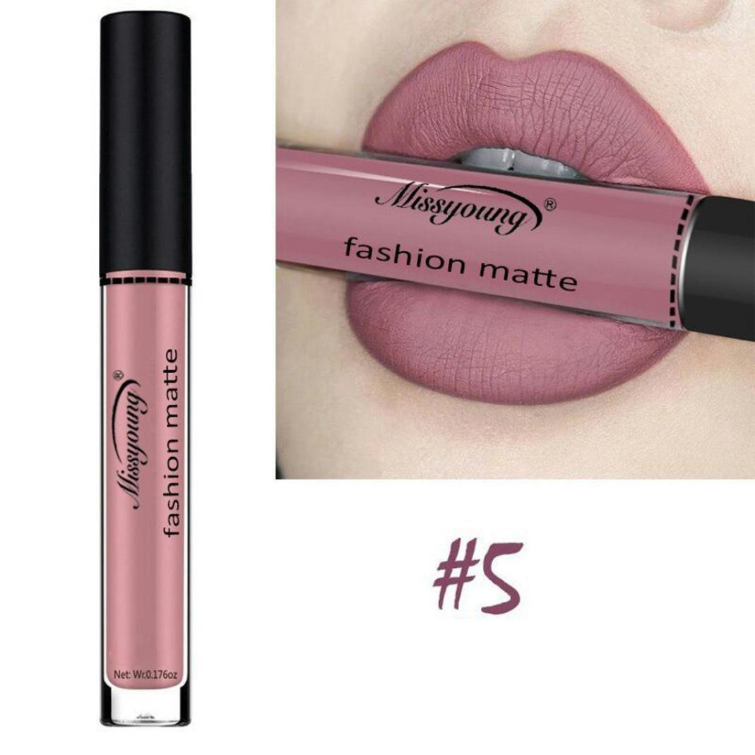 Women Cosmetics Matte Lip Gloss & Metallic Lip brillant Moisturizing Long-lasting Luster Lipstick (Miss young 05)