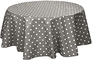 My Jolie Home Tablecloth Multicolor Dots, Stain Resistant, Washable, Liquid Spills Bead up (Other 63-Inch Round, 60 x 80-Inch, 60 x 95-Inch, 60 x 120-Inch) (63-Inch Round, Grey, Dark Grey)