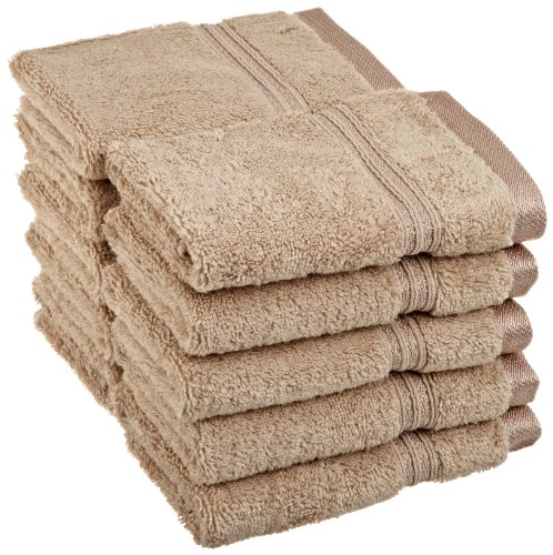 Superior 100% Long Staple Combed Cotton Face Towel Set, 10 Piece, Taupe (Collection Signature Nile Blue)