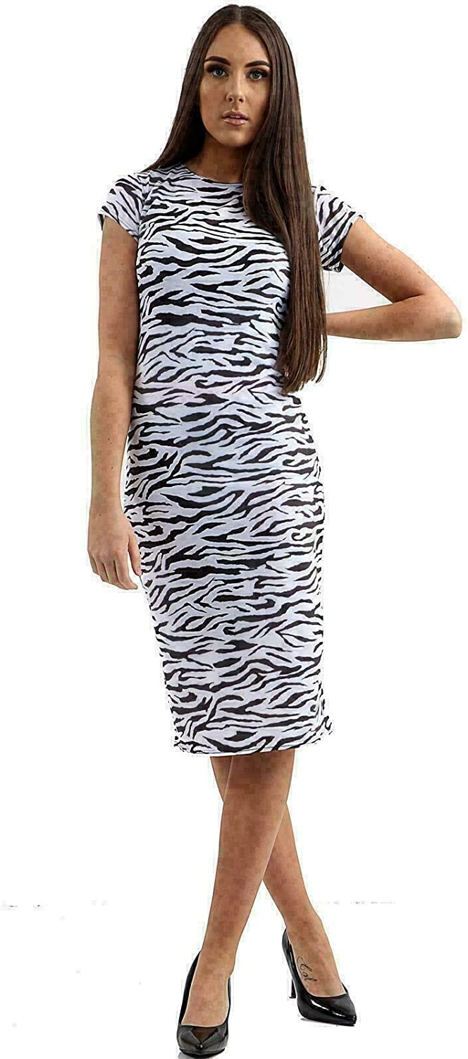 TopStyleFashion4u New Womens Ladies Animal Printed Midi Body con Dress Skirt Leggings Bodysuit