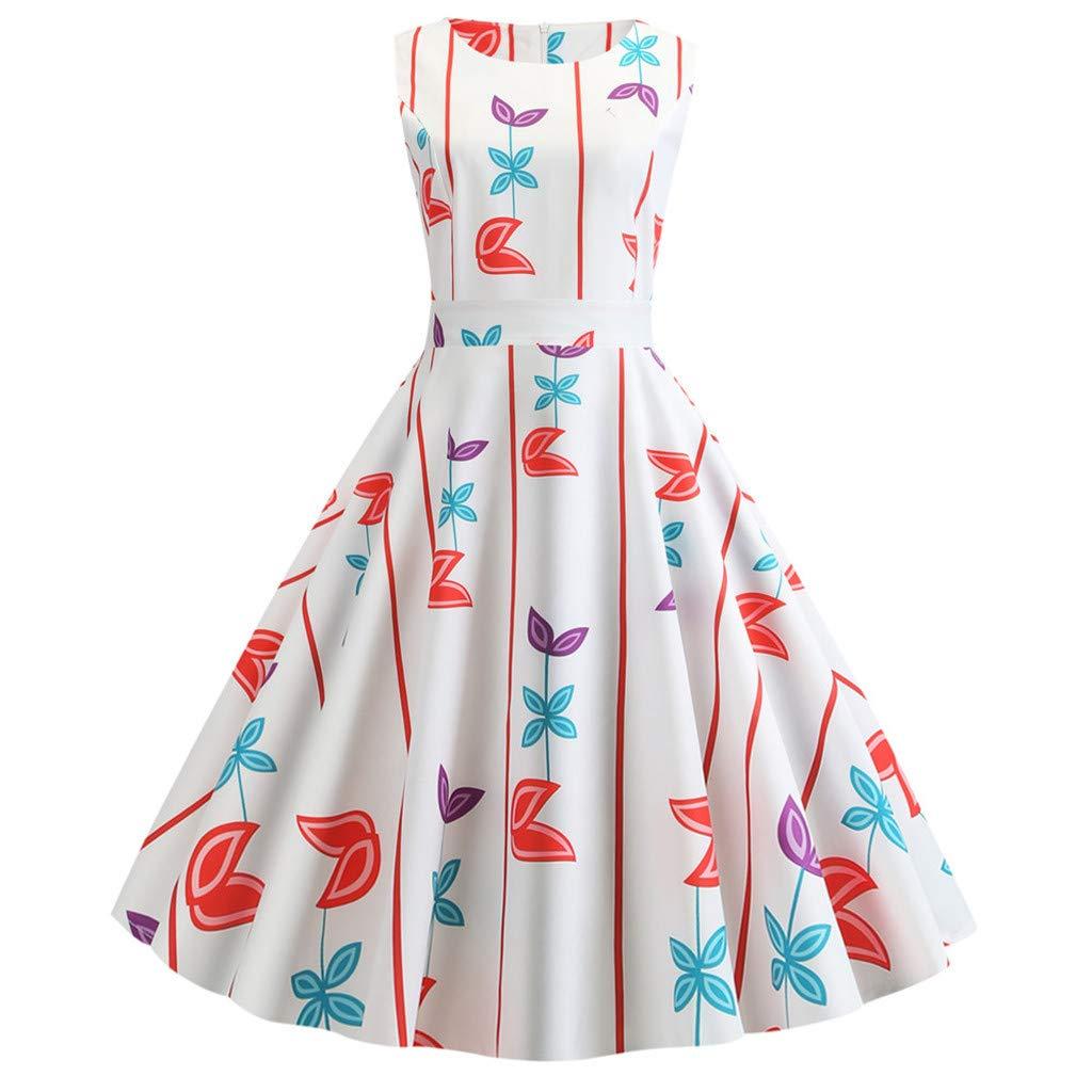 Women Vintage 1950s Retro Sleeveless Print Evening Party Gown Prom Swing Dress Alalaso