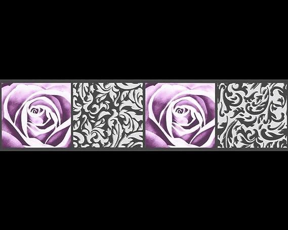 A.S. Création cenefa autoadhesivo Stick Ups negro lila 5,00 m x 0 ...