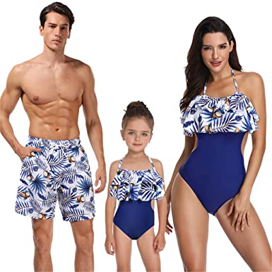 fe2ff0e1d5 Amazon.com: Couple Swimwear Matching Bikini Women Bathing Suit Blue Family  Matching Swimwear for Mom Kids Father Daddy Mommy Me Swimsuit: Clothing