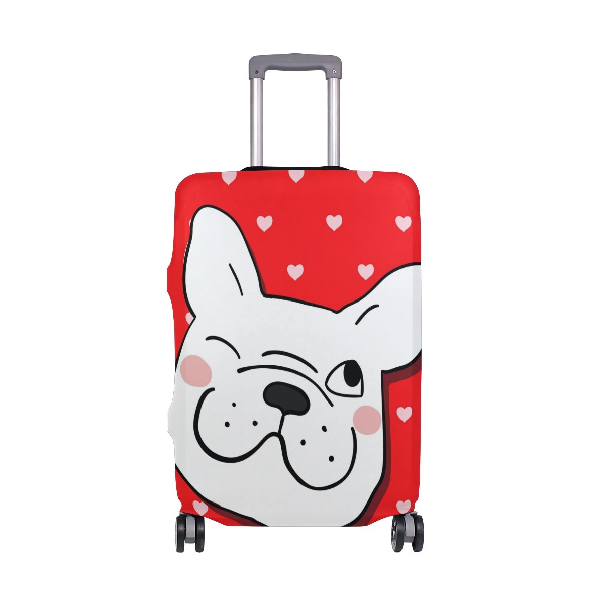 Cute Dogs Polka Dots Love Heart Suitcase Luggage Cover Protector for Travel Kids Men Women