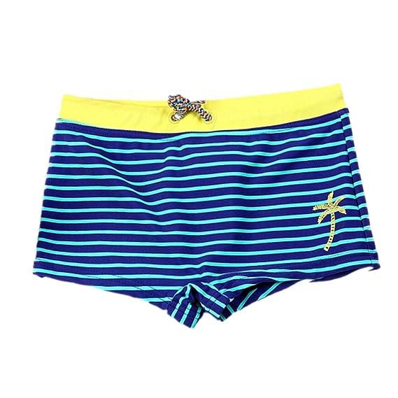 Mitlfuny Verano Traje de Baño para Niño Bañador de Natación Raya Árbol de Coco Estampado Correas Esquina Plana Pantalones Cortos para Niños Nadando ...