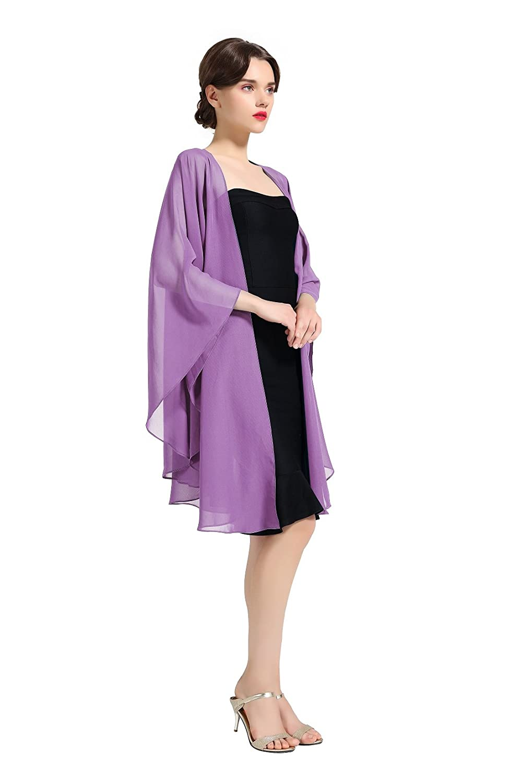 Shawl Wrap Chiffon Scarf For Women Evening Dresses Wedding Stole Black White Blue 25 Colors by BEAUTELICATE Shawl-66-Black