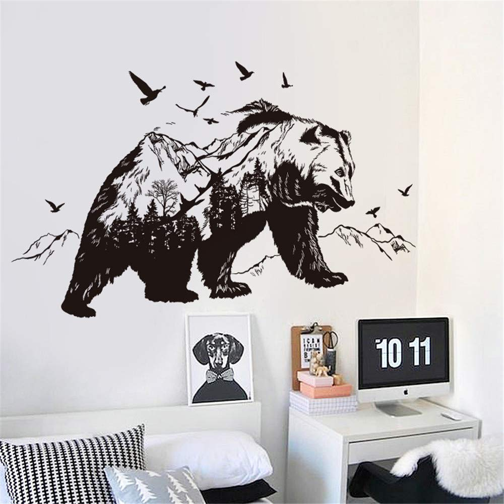 FANGLIAN Removable Forest Animal Bear Black Wall Decal Forest Animal Wall Stickers Bear Adventure Foraging Wall Decal for Garden Yard for Living Room,Nursery playroom Wall Decor (35.4 x 23.6 inches)
