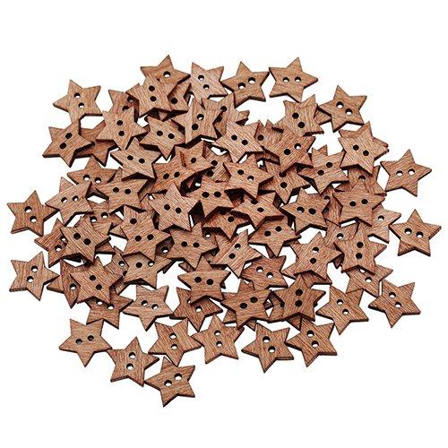 399 Brown Leather (wooden button shirt 100 Pcs 2 Holes DIY Star Shape Wooden Button Scrapbook Craft Sewing button art)